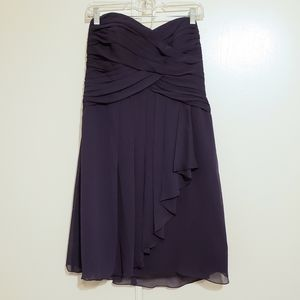 Short Crinkle Chiffon Dress with Cascade Front